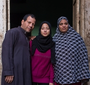 Portrait of a family in Cairo, Egypt.