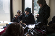 Women refugees from Syria participating in skills-training activities in UNFPA-supported Women and Girls Safe Space in Lebanon