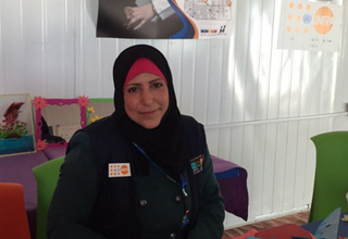 Fatima at the Zaatari women's centre where she volunteers as an art instructor.