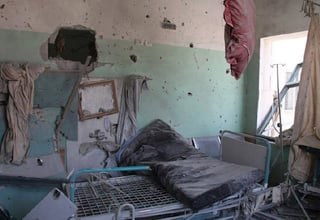 Shelled Al Aqsa Hospital in Deir al Balah Gaza Strip © ALRESALA Newspaper