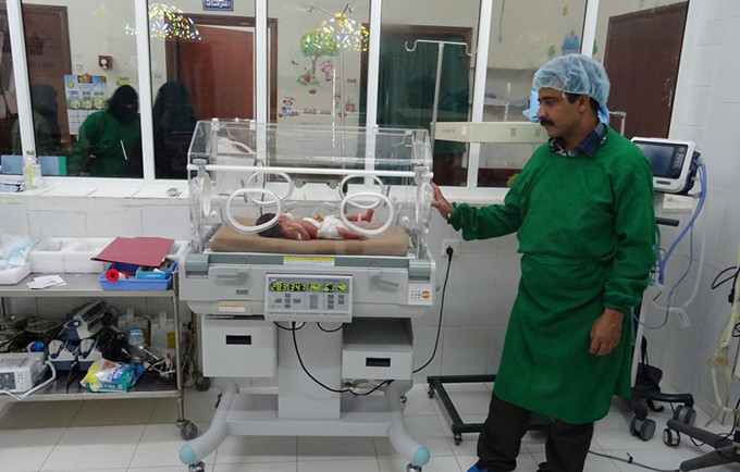 Nafessa was the first baby to be saved by the new incubator at Al-Mahabisha Hospital