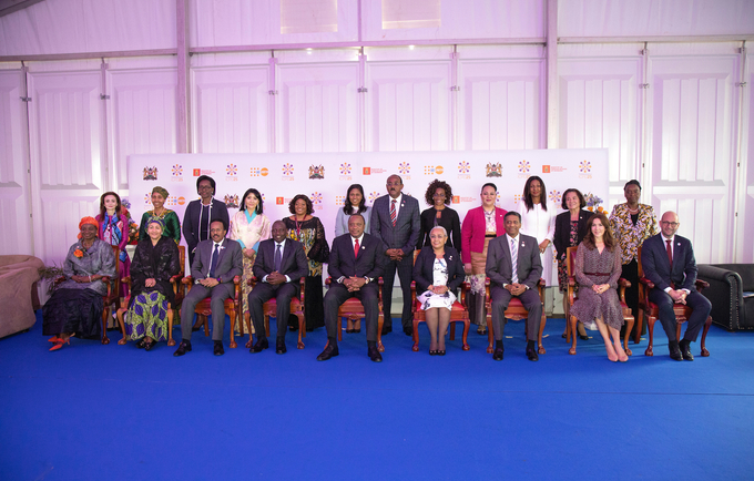 The President of the Republic of Kenya, Uhruru Kenyatta, is pictured with some high level representatives, including (sitting from left) the Executive Director of UNFPA, the United Nations Population Fund, Natalia Kanem, and the Deputy Secretary General of the United Nations, Amina J. Mohammed,