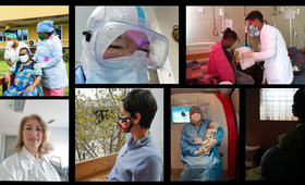 The pandemic has introduced danger and uncertainty to the start of motherhood. Clockwise from top left: © UNFPA DRC, © China Maternal and Child Health Association, © Ethiopian Midwives Association, © UNFPA Honduras, © ZHIAN health organization, © Vojislav Gushevski, © UNFPA Albania