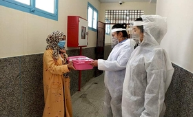 The initaitive distributed protective equipment and sanitation supplies to health workers, among other support. © UNFPA Morocco