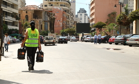 The distribution of dignity kits in Beirut. © UNFPA Lebanon