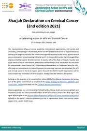 Sharjah Declaration on Cervical Cancer (2nd edition 2021)